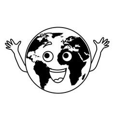 World planet comic character vector