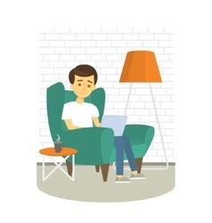 Young Man relaxing on armchair and browsing vector