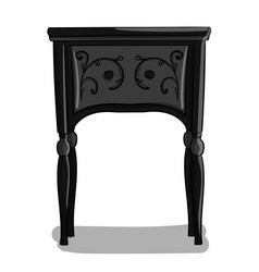 a wooden bedside table with black and gray carved vector image vector image