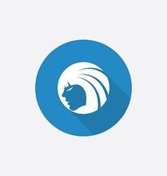 Beauty girl face Flat Blue Simple Icon with long vector image