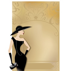 Lady in black at vntage poster vector image vector image