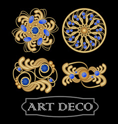 set of gold filigree brooch with blue gems vector image vector image