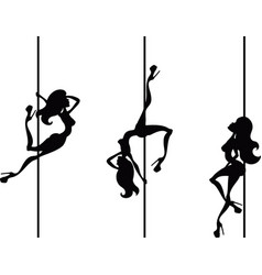 three pole dancers vector image