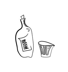 whiskey bottle and glass stylized vector image