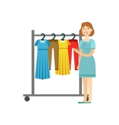 Woman Shopping For Clothing Shopping Mall And vector image vector image