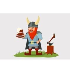 Cartoon viking with beer mug in hand vector image