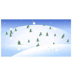 Fir trees over snowcapped landscape vector image vector image