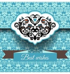 Royal damask ornament frame background vector image