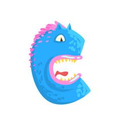 Cartoon character monster letter c vector