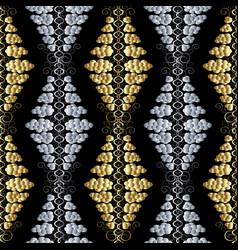 floral polka dots seamless pattern black vintage vector image