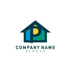 Home letter p design vector