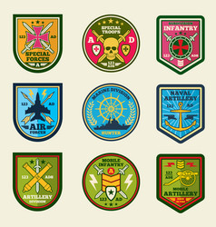 military patches set army forces emblems vector image vector image