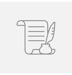 Paper scroll with feather pen line icon vector image