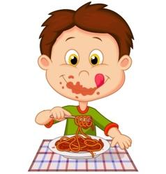 Cartoon boy eating spaghetti vector image vector image