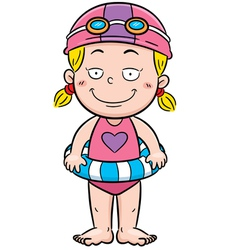 Girl swimming vector image vector image