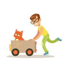 happy boy playing toy car with his red cat inside vector image