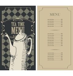 menu for a tea time vector image