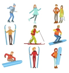 People And Winter Sports Set vector image vector image