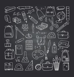 school icons on blackboard vector image