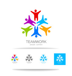 teamwork people connect design template vector image vector image