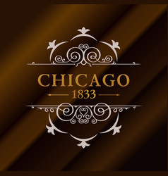 vintage gold hipster label with lettering chicago vector image vector image