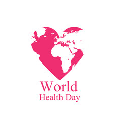world health day continents and heart festive vector image vector image