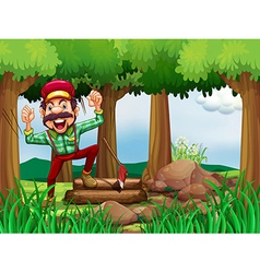 A forest with a happy and a hardworking woodman vector