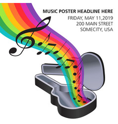 A rainbow music flows from a guitar case vector