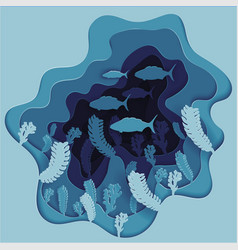 a school of fish on the seabed in algae vector image