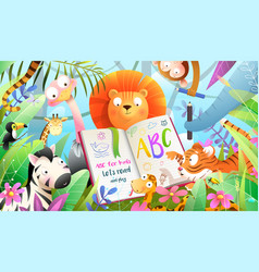 African animals reading book learning in jungle vector