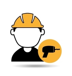 Avatar man construction worker with drill tool vector