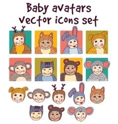 Bachildren faces avatars icons set vector