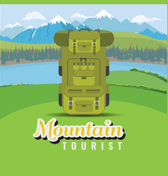 backpack on hill with mountain and lake landscape vector image