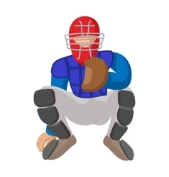 Baseball catcher cartoon icon vector