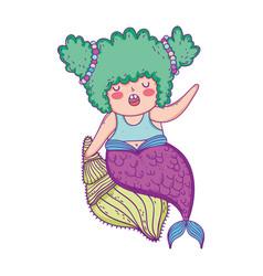 beautiful mermaid sitting in shell fairytale vector image