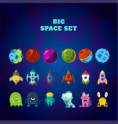Big space set set of space elements planets vector