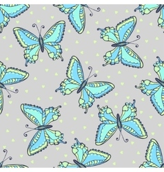 Blue butterflies seamless pattern on fashion grey vector image vector image