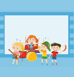 Border template with kids playing music in band vector