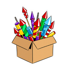 Box with fireworks pop art vector