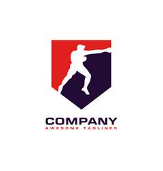 boxing badge club logo vector image