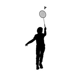 Boy playing badminton silhouette isolated vector