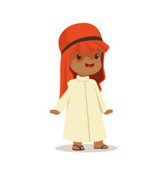 boy wearing in white dress and red muslim vector image