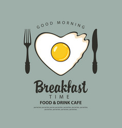 breakfast banner with a heart shaped fried egg vector image