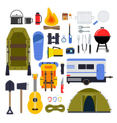 Camping equipment for travel hiking accessories vector