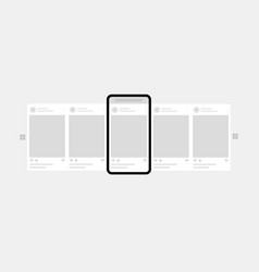 carousel interface posts for social network design vector image