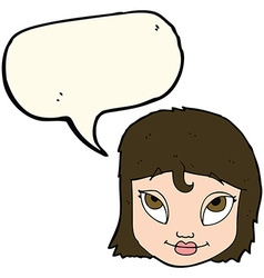 Cartoon woman smiling with speech bubble vector
