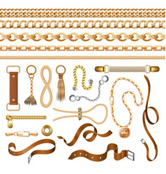 chain and belt elements golden braid leather vector image