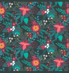 christmas seamless pattern with flowers vector image
