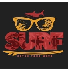 Colored Surfing Print vector