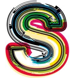 Colorful Grunge font LETTER S vector image